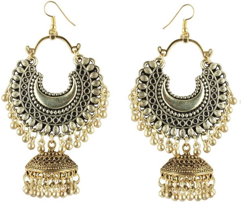 Flipkart Urbanela German Silver Turkish Style Beaded Chandbali Earrings For Women And S Earring Online At