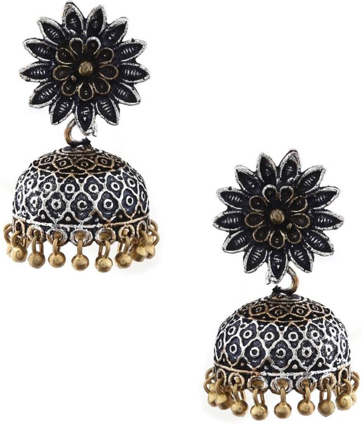 4d8721107 Flipkart.com - Buy RUBANS Silver Plated Oxidised Dual Tone Contemporary  Floral Jhumka Earrings Brass Jhumki Earring Online at Best Prices in India