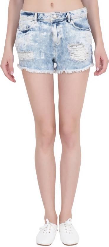 805fda847f0 Cali Republic Distressed Women Denim Light Blue Denim Shorts - Buy ...