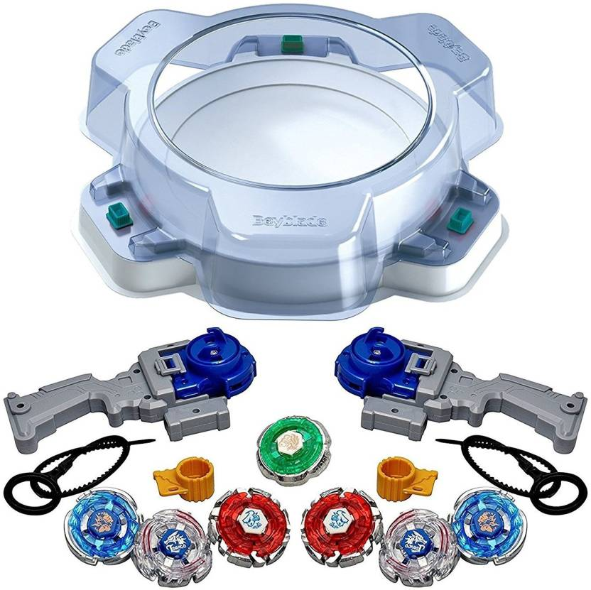 dc8b9a46fa2 Assemble Beyblade Burst B-09 Bay Stadium Standard Type with Metal Fury  Power Pack Beyblade 7 in 1-Combo (Multicolor)