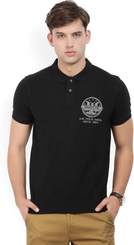 000ee4d6 U.S. Polo Assn Printed Men Polo Neck Black T-Shirt - Buy BLACK U.S. Polo  Assn Printed Men Polo Neck Black T-Shirt Online at Best Prices in India |  Flipkart. ...