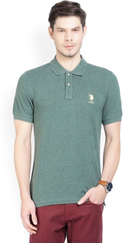 073c4d898 U.S. Polo Assn Solid Men s Polo Neck Dark Green T-Shirt - Buy OLIVE ...