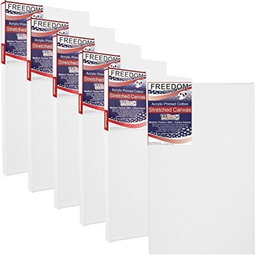 "6 Pack of US Art Supply 4/"" x 12/"" Acrylic Primed Cotton Duck Stretched Canvas"