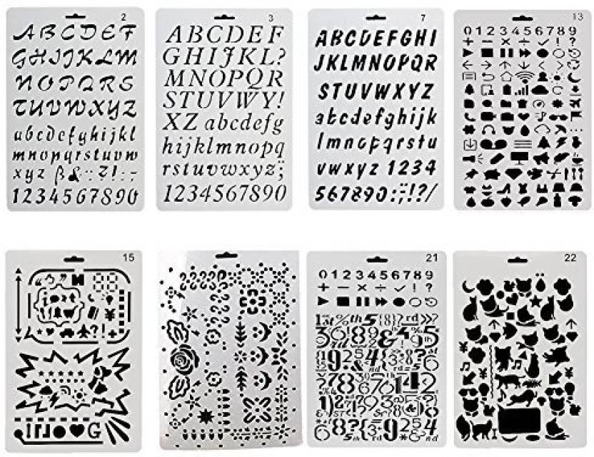Generic XYBAGS 8 PCS Alphabet Stencil Letter Stencil Templates for