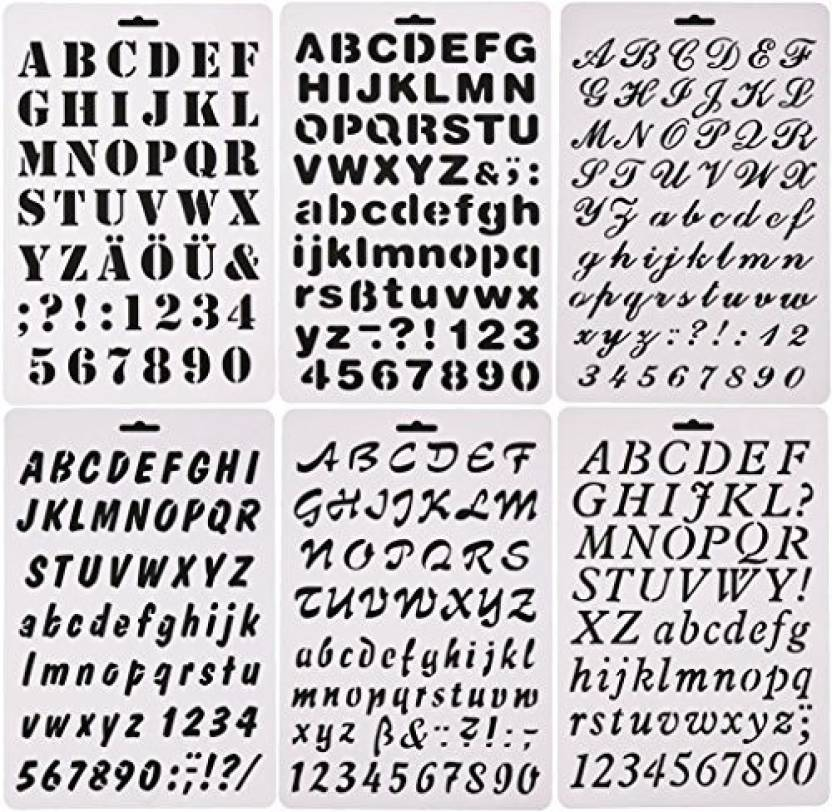 53d9427721ab6 Ansuyai 6 Pcs Alphabet Letter Number Drawing Painting Stencils Scale  Template For Scrapbooking