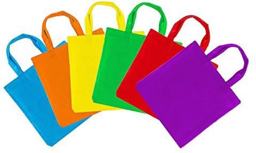 Super Z Outlet Assorted Colorful Solid Blank Canvas Party Gift Tote Bags Rainbow Colors With Handles