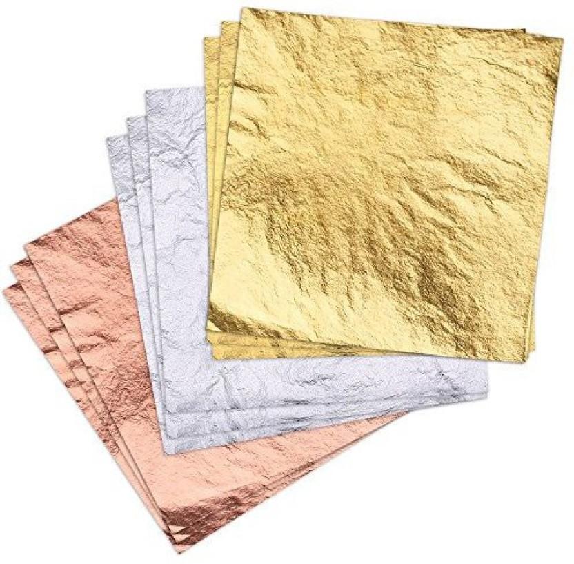 Gilding Crafting Frames, 14 cm x 14 cm Crafts Decoration 100 Sheets Imitation Gold Leaf for Art