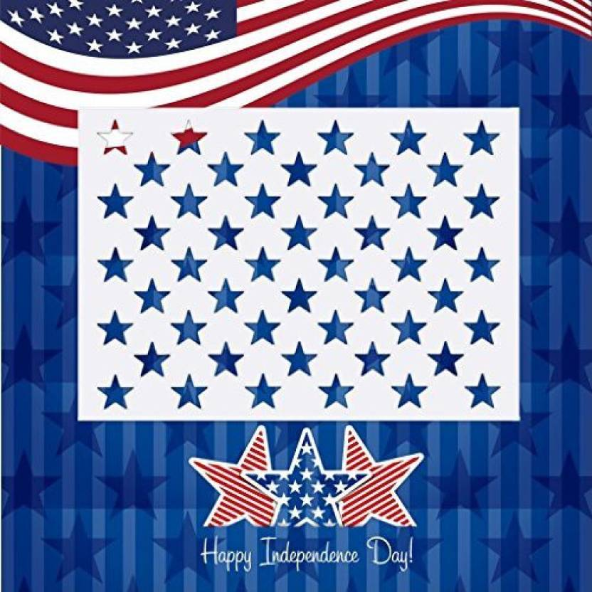 American Flag Star Template | Generic Onest American Flag 50 Star Stencil Template For Painting On