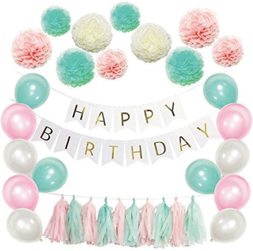 Generic Party Decoration Favors Happy Birthday Decorations Banner White Black Latex Balloons With Tissue Paper Pom