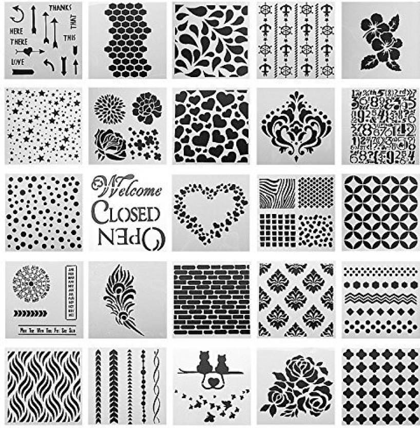 Generic SOTOGO 25 Pcs Mix Pattern Square Shape Journal