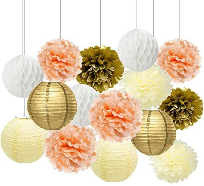 Generic Cream Peach Gold White Tissue Paper Pom Poms Paper Flowers