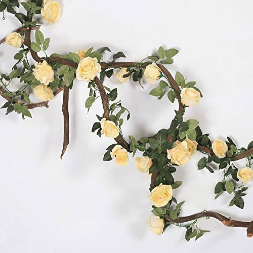 Li Hua Cat Artificial Rose Vine Flowers Plants 10 Heads Silk Fake