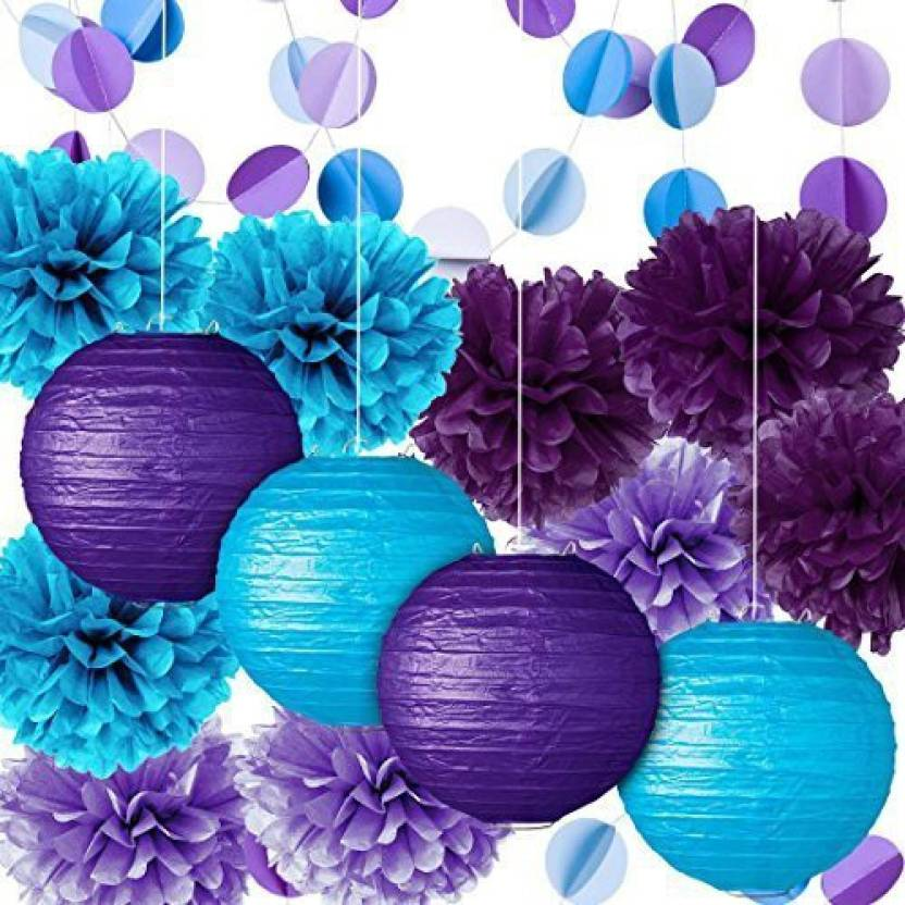 Fadesun Party Decoration Kit Purple Blue Tissue Paper Pom Poms Flowers Papers Lanterns Circle Garland Birthday Wedding Christening Froze - Party Decoration ...