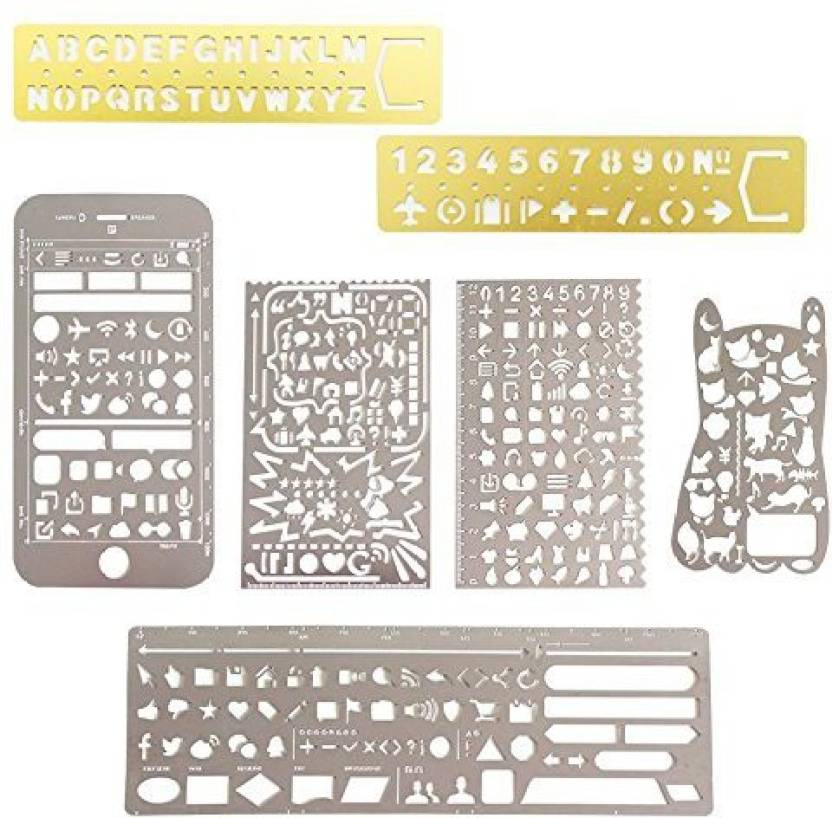 Generic COCODE 7 Pcs Stainless Steel Journal Stencils And Scale Templates Ruler With Web UI