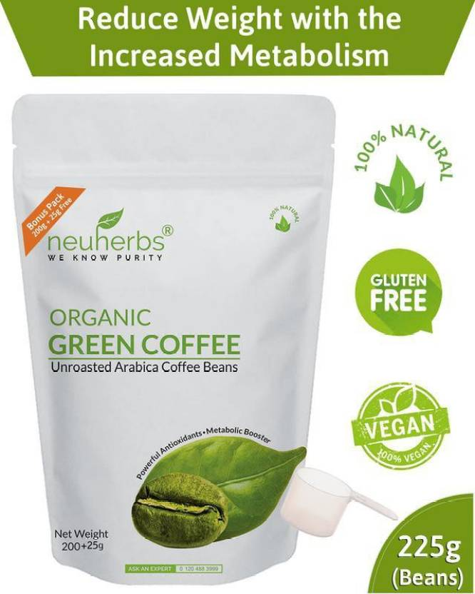 Neuherbs Organic Green Coffee Beans For Weight Loss Management 200 25g