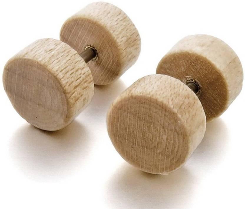 59977b4b8 Flipkart.com - Buy shopolica Earrings Barbell & Dumble Round Stud Pair  Piercing Unisex Studs Earrings Wood Stud Earring Online at Best Prices in  India