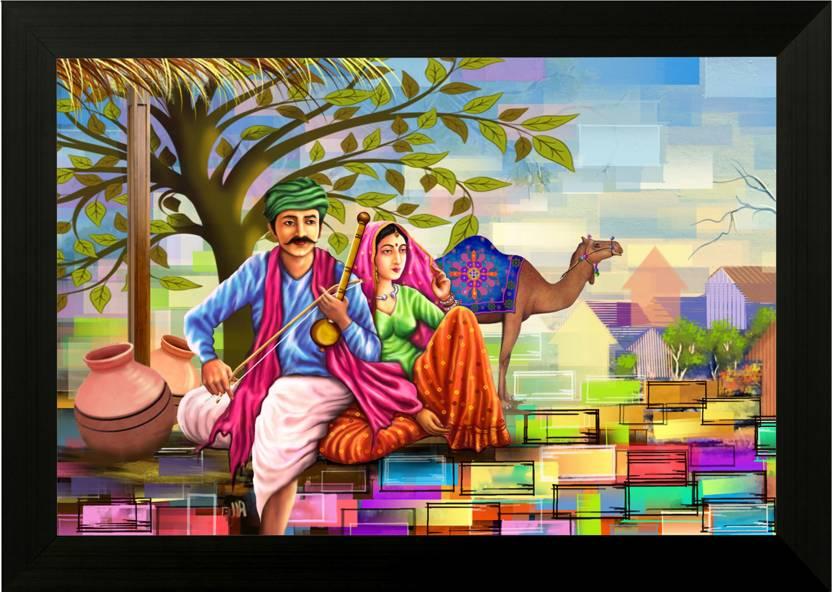 SAF Rajasthani Village Painting Digital Reprint