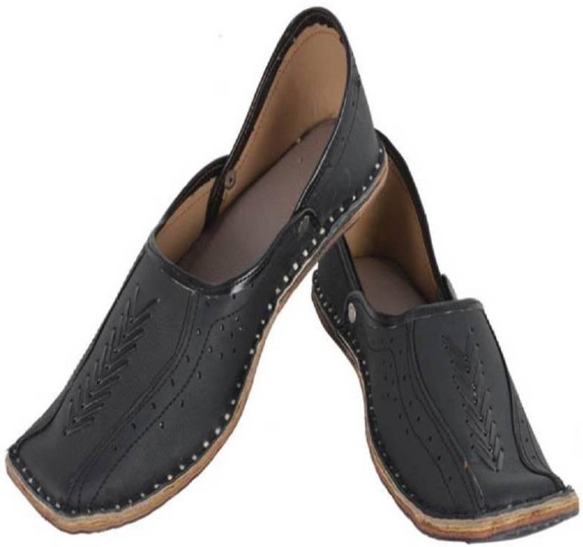 9f20f50dc Ashish Enterprises Men Rajasthani Handmade Ethnic Juti Black Leather Mojari  Shoe Jutis For Men (Black)