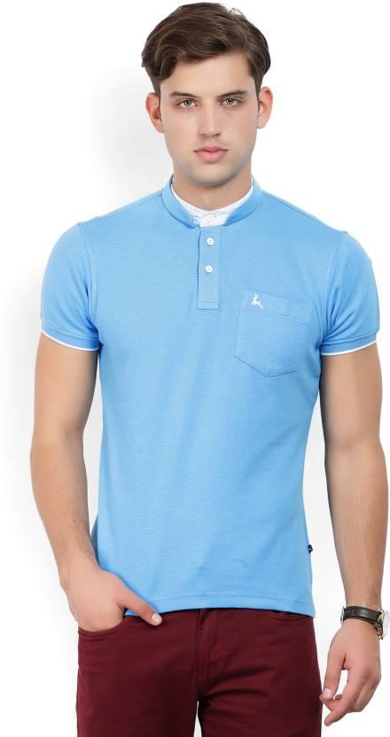 f2a0fe018 Parx Striped Men Mandarin Collar White, Blue T-Shirt - Buy Light ...
