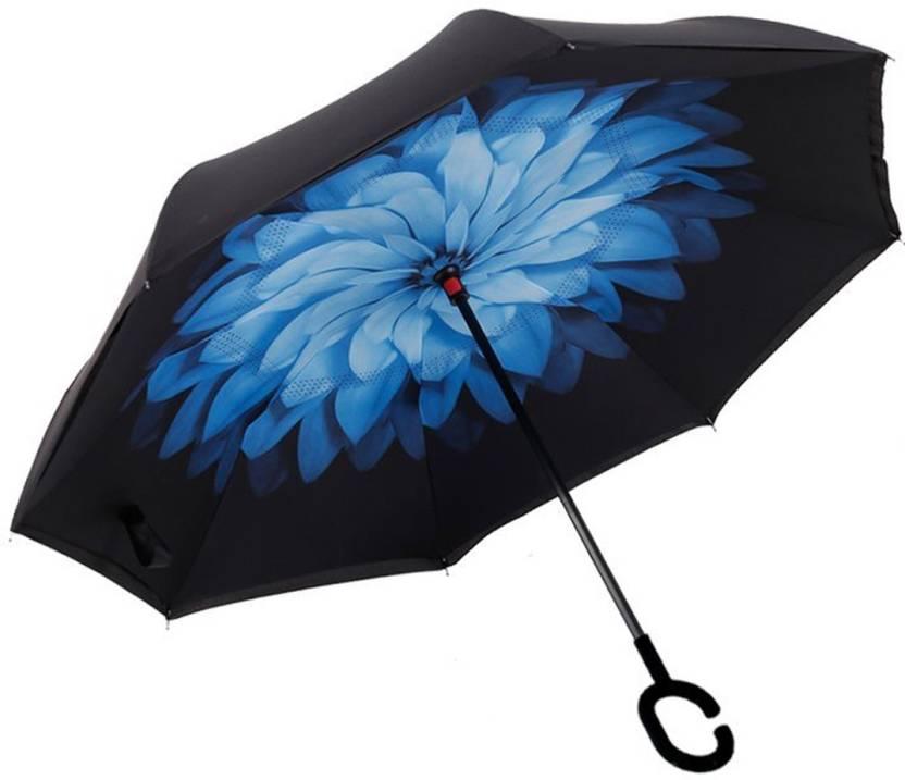 fb78b5ff8664 EKAN Inverted Umbrella Windproof Upside Down Reverse Travel Umbrella ...