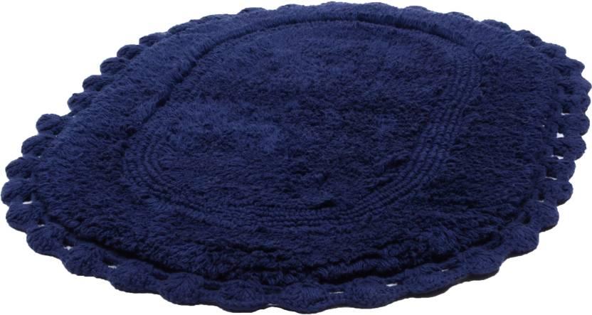 Natura Living Cotton Bathroom Mat (Navy Blue, Large)