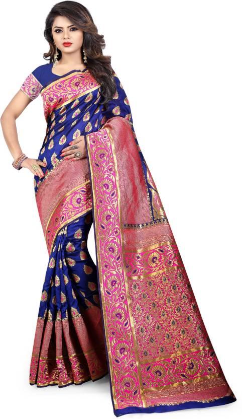 cabf90e112 Buy Dhanush FAshion Woven Paithani Banarasi Silk Multicolor Sarees ...