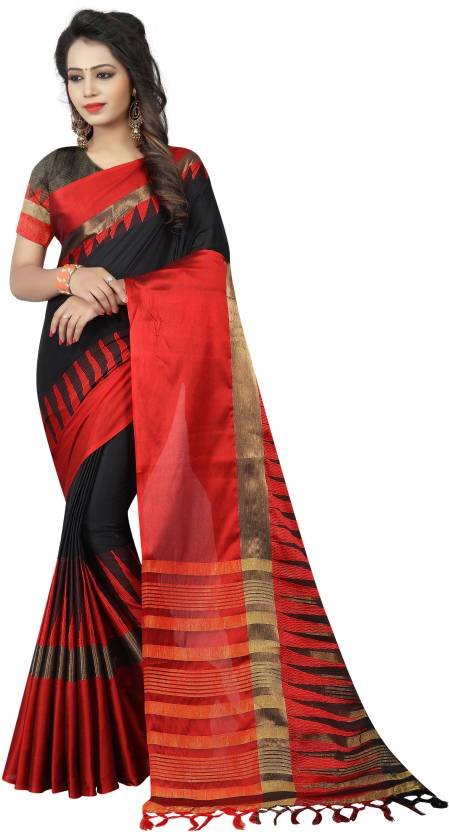 2525e820896500 SATYAM WEAVES Woven Banarasi Cotton Silk Saree (Black