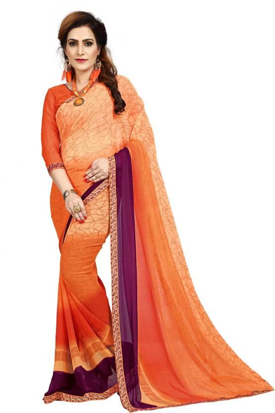 e3e3d9b4a787a UJJWAL CREATION Printed Bollywood Georgette Saree (Orange
