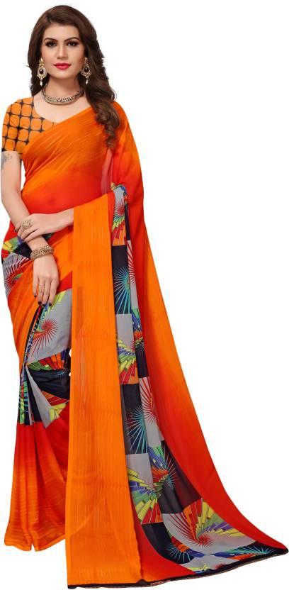 113689e497d Buy Mrinalika Fashion Printed Daily Wear Georgette Orange Sarees ...