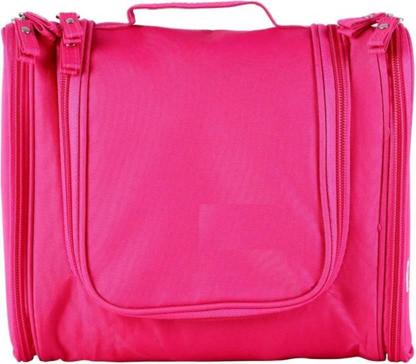 34e89ffbc4 Simxen Foldable Cosmetic Makeup Bag Organizer Hanging Travel Toiletry Kit  (Pink)