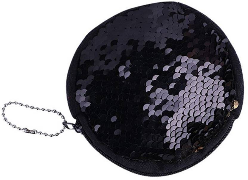 69e491ea60 Fully Reversible Mermaid Sequin Makeup Pouch Cosmetics Bag Key Coin Purse  Sling Bag (Black, 3 inch)