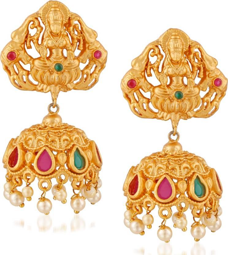 Meenaz Temple Jewellery Traditional Jhumka One gram Wedding Bridal Sarees  Kundan Pearl party wear Matt Gold Lakshmi Necklace set / Jewellery Set