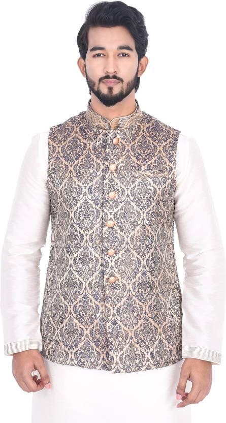 0fdb2f7b7 Manyavar Sleeveless Embroidered Men s Nehru Jacket - Buy Blue