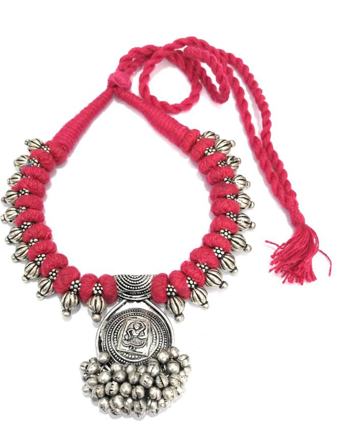 13fbdec8bd01b athizay Red Necklace oxidised silver large metal beads intertwined ...