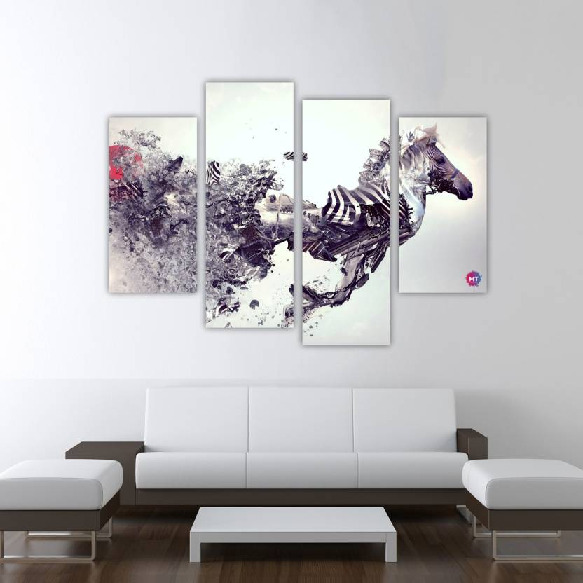 Chandras Abstract zebra 4 frame panel canvas wall art Canvas 30 inch ...