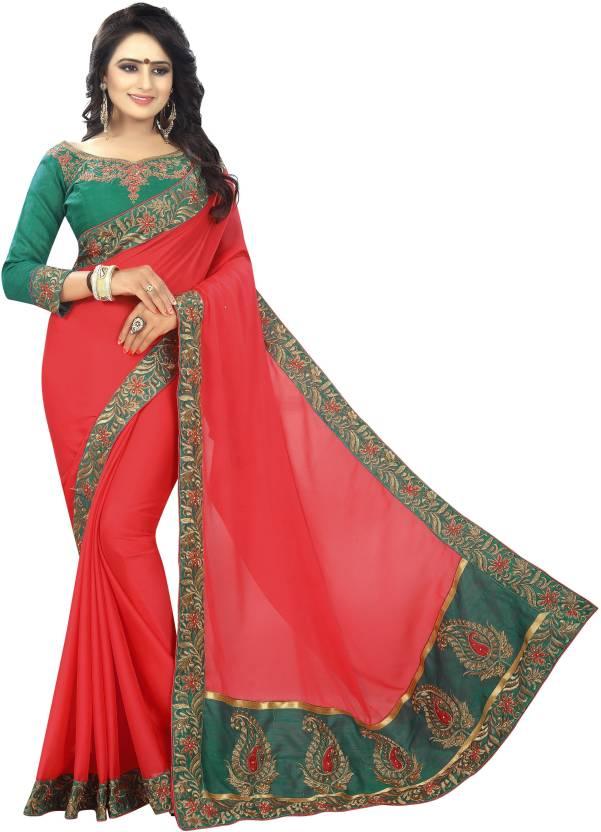 4b6fc1ff5b362 Buy Vrundavan Ethics Solid Bollywood Heavy Georgette Red Sarees ...