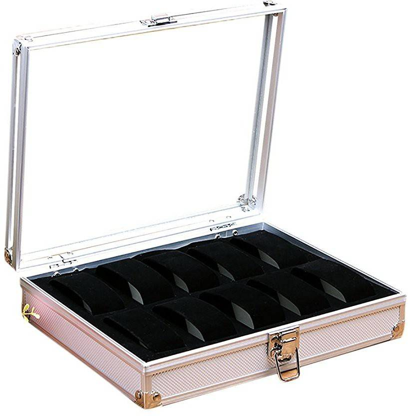 2757a85d40e2 House of Quirk Aluminum Alloy 10 Grid Watch Display Storage Square  Organizer Slots Watch Box