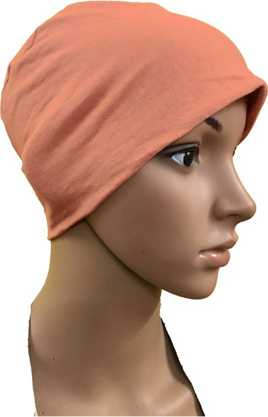GIRIJA Solid PEACH CHEMO BEANIES CANCER CAPS WOMEN SUMMER CHEMO CAPS SLEEP  TURBAN FOR WOMEN UNDERSCARF CAPS UNDER HIJABS WOMENS PREGNANCY CAPS EAR  COVER CAP ... c3e62dfd0c31