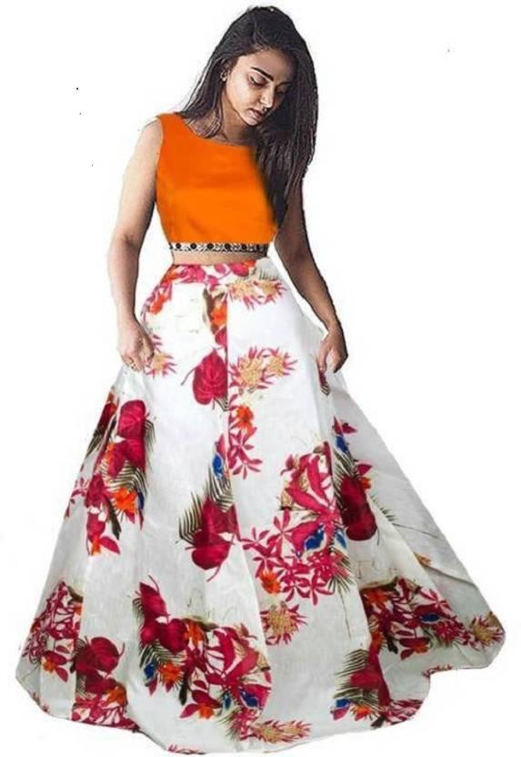 9c586e91a3b42a crezz n world Floral Print Lehenga & Crop Top - Buy crezz n world ...
