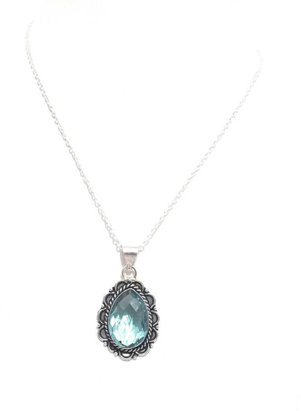 bb76dda13f2a athizay Imitation Silver Long Chain with blue transparent glass stone  Pendant formal look for women stylish