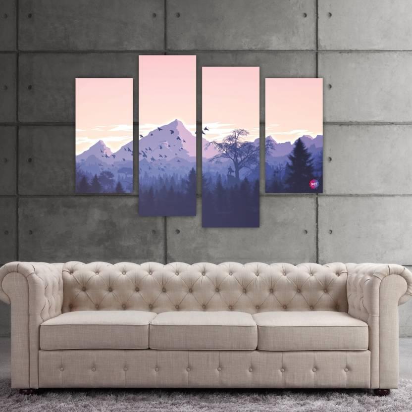 Chandras Abstract Mountain 4 Frame Panel Canvas Wall Art