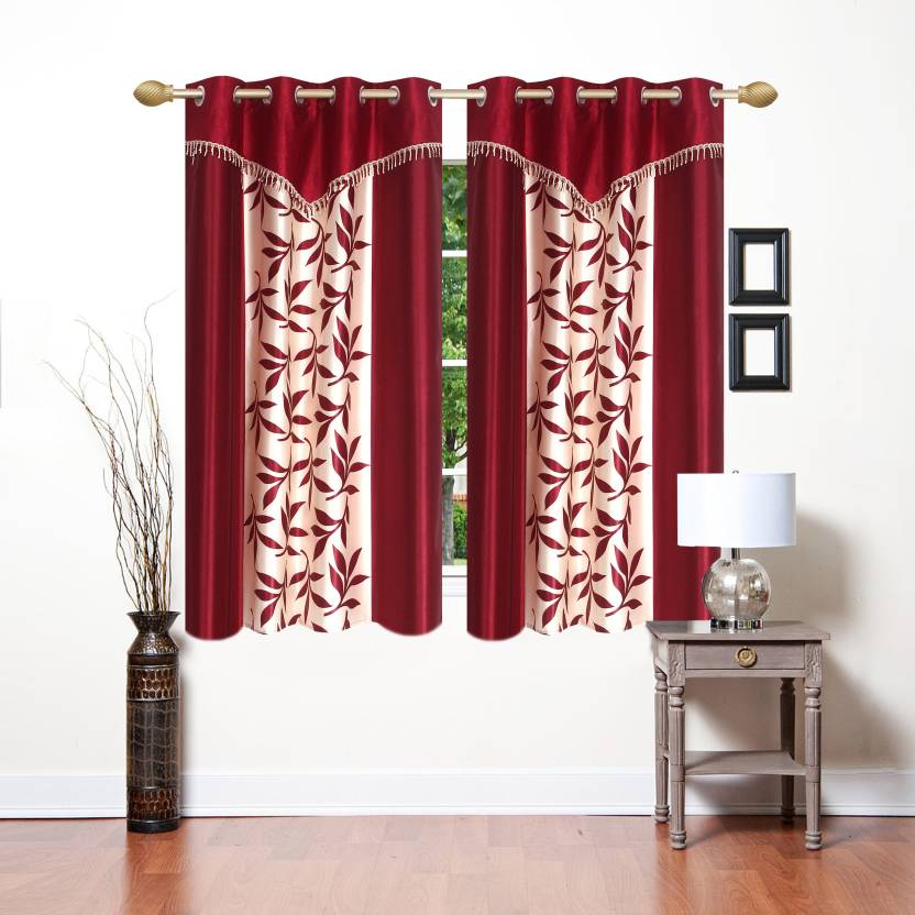 Ville Style 153 Cm 5 Ft Polyester Window Curtain Pack Of 2