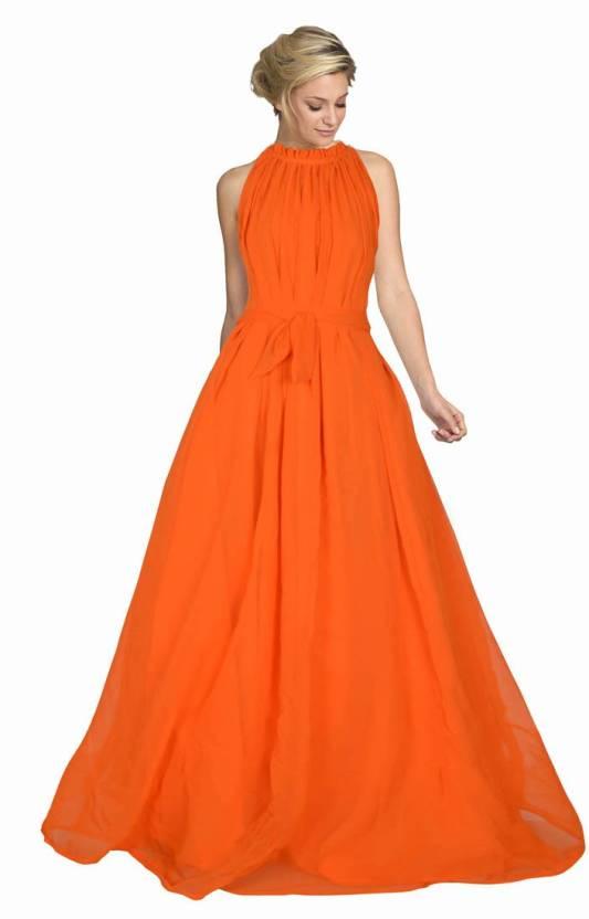 5629d341aa3 Active Women Gown Orange Dress - Buy Active Women Gown Orange Dress Online  at Best Prices in India