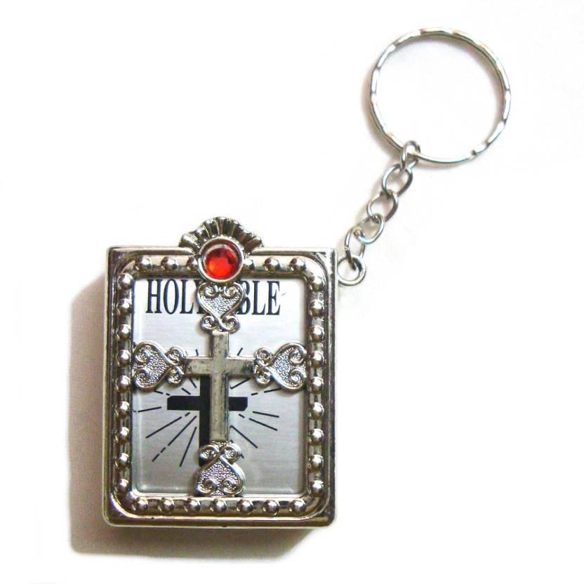 Shopiora Mini Silver Holy Bible Miniature Paper Spiritual Christian Jesus  Keyring Key Chain