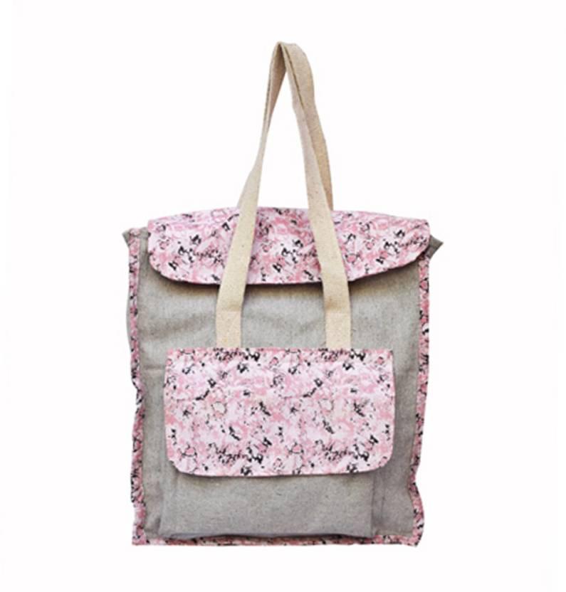 c8e0d199ad4f WOCA DESIGNS Texture print canvas backpack cum handbag for womens girls 5 L  Backpack (Grey