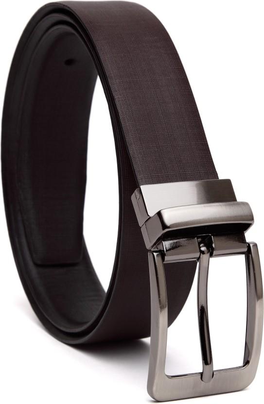 Men Genuine Premium Leather Formal Elegant Chrome Buckle Classy Brown Belt