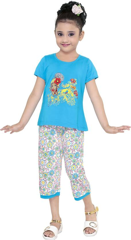 f315542ff2 JUST TRENDY Kids Nightwear Girls Floral Print Cotton (Multicolor Pack of 1)