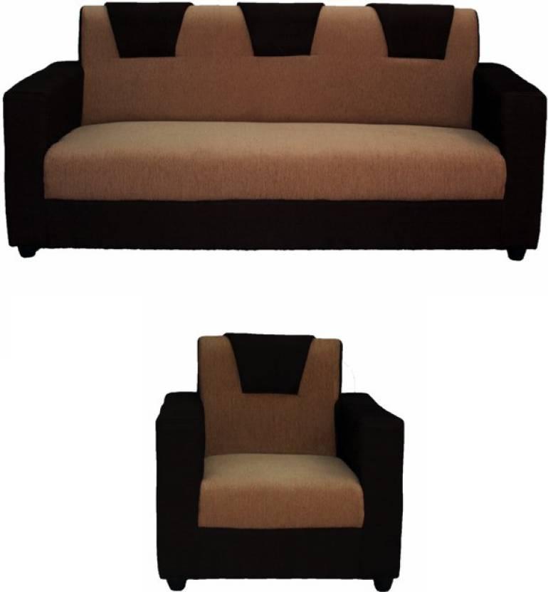 Westido Fabric 3 + 1 Cream Brown Sofa Set