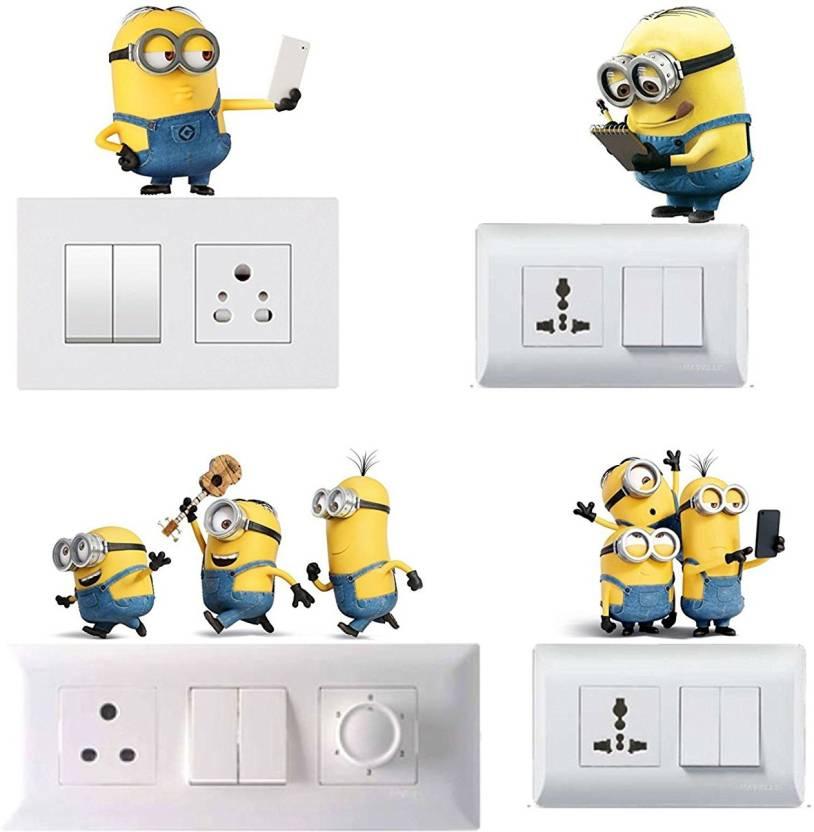 pixel print Medium Pixel Print Funny Cartoon Light Switch Board Wall  Sticker/ Wall Decals/ Fridge Sticker For Home, Office & Home Decor Sticker