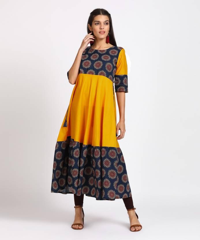 701d08c0bd Gerua Women's Floral Print Anarkali Kurta - Buy Yellow Gerua Women's ...